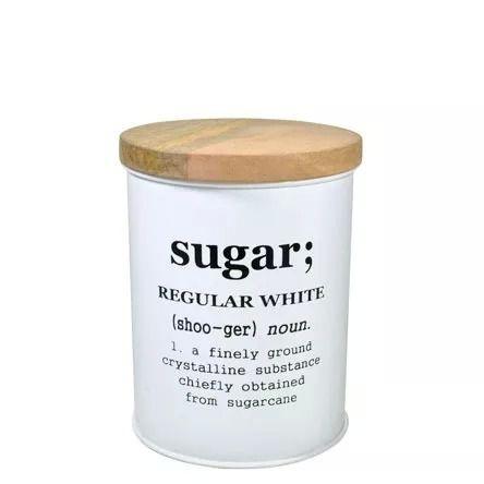 Lata Para Açúcar com Tampa de Madeira