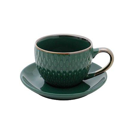 Conjunto de 4  Xícaras de Porcelana Para Café Verde