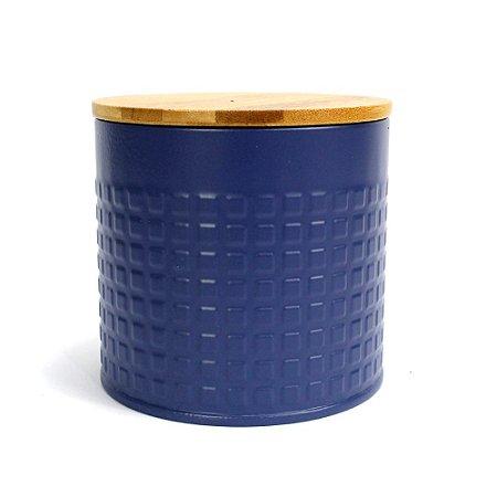 Lata Azul Marinho com Tampa de Bambu