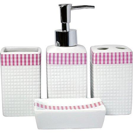 Kit com 4 peças para Banheiro - Rosa e Branco