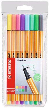 Estojo Stabilo Point 0,4 Fineliner Pastel com 8 Unidades