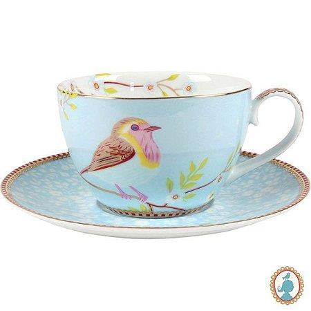 Xícara de Chá Floral Early Bird - Azul - Pip Studio