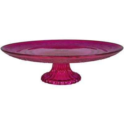 Bandeja de Vidro com Pé Delishop Pink