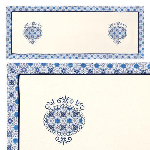 Caminho de Mesa Bordado Azulejo