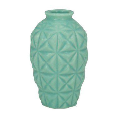 Mini Vaso Cerâmica Decor Geometric Verde
