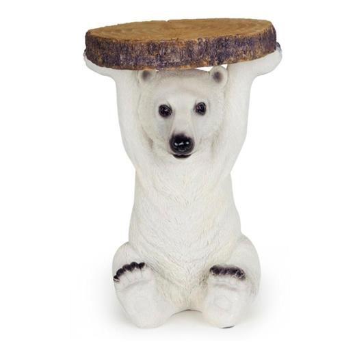 Mesa Lateral de Resina Urso Polar Pequena