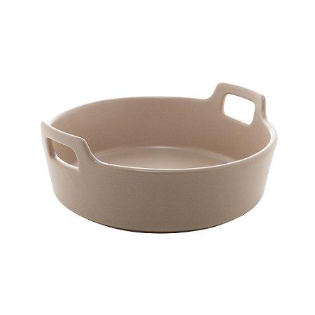 Travessa Porcelana Redonda com Alça Cinza Matt 22 cm - Bon Gourmet