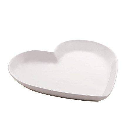 Prato Decorativo Coração Branco 27,8 cm