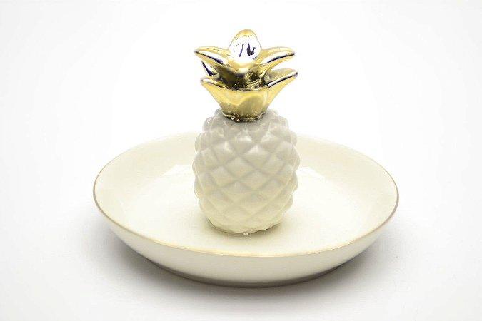 Porta Bijoux Abacaxi Branco e  Dourado