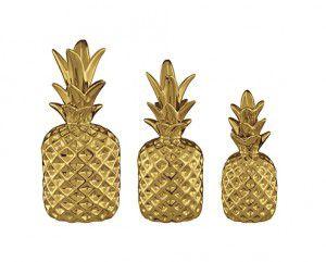Kit Abacaxi Dourado de Cerâmica