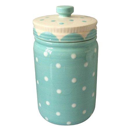 Pote Poá Candy de Cerâmica Azul Bebê