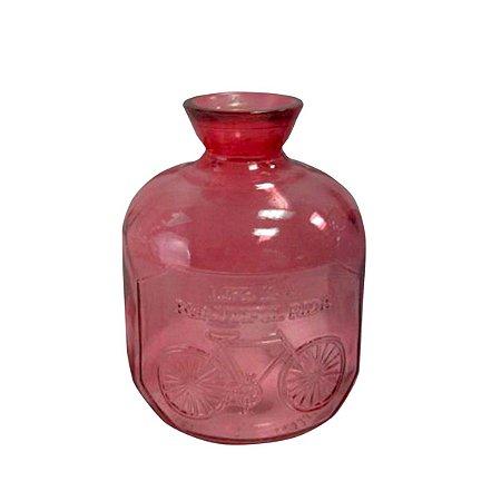 Garrafa Vidro Embossed Phrase Pequena Vermelha