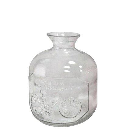 Garrafa Vidro Embossed Phrase Pequena Transparente