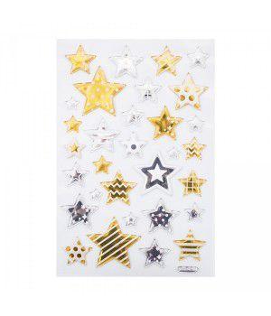 Adesivo Decorativo Estrelas Prata e Dourada