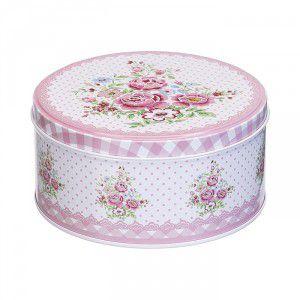 Conjunto de Latas Decorativas Redondas Rosa Xadrez