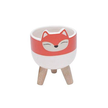Vaso de Cerâmica com Suporte de Madeira Raposa Fox