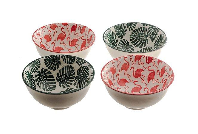 Conjunto de 4 Cumbucas em Porcelana Flamingo e Folhas