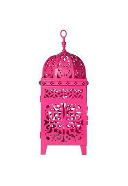 Lanterna Marroquina - Quadrada Flor Pequena Pink