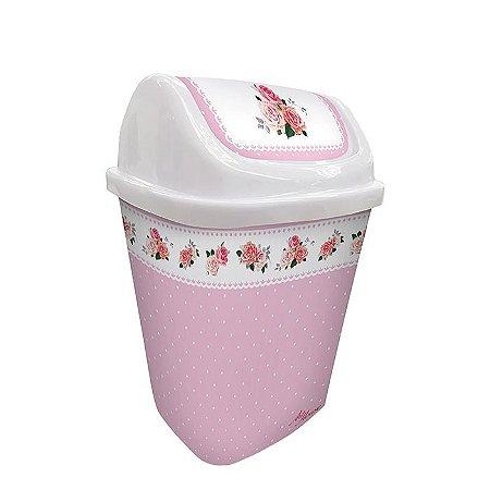 Lixeira Basculante - Floral Rosa Bebê