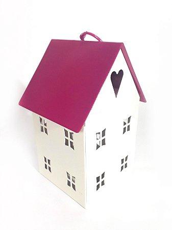 Lanterna Porta Velas - Casinha Pequena Telhado Pink