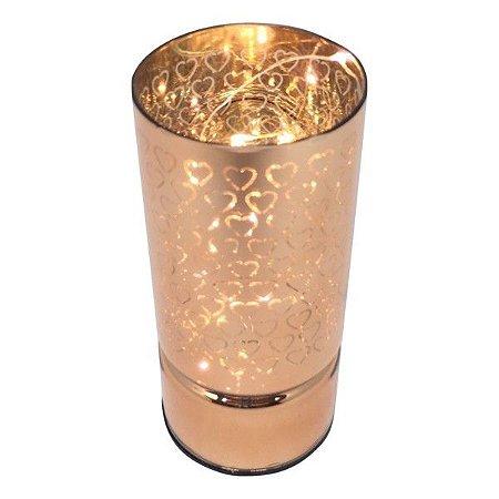 Luminária Vidro Led Hearts Rosa Dourado Pequena
