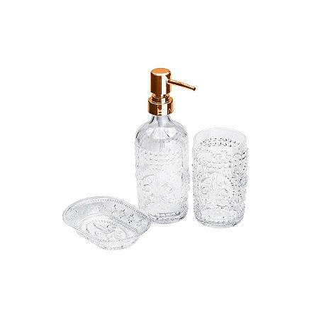 Kit para Banheiro em Vidro Flor de Liz Rose Gold - Lyor