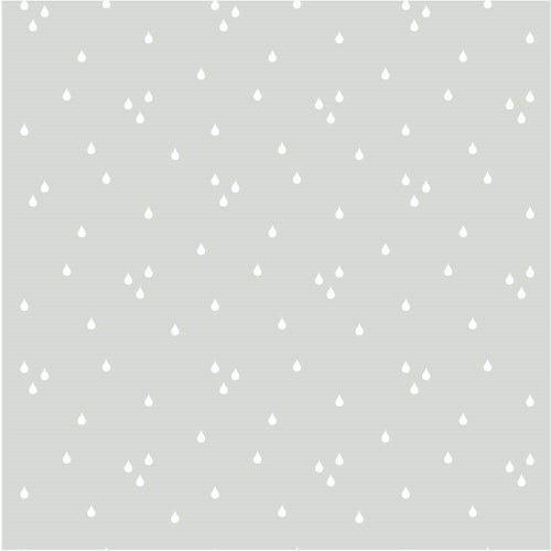 Papel de Parede Cinza com Gotinhas Brancas - T.Design