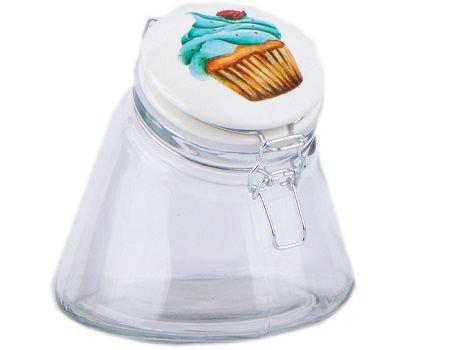 Pote em vidro CupCake Pequeno Azul