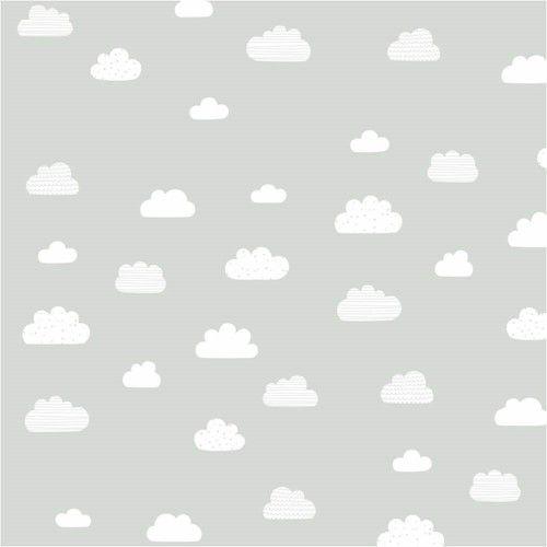 Papel de Parede Cinza com Nuvens Brancas - T.Design