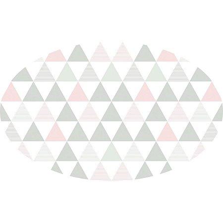 Tapete Playmat Delta Rosa e Cinza Oval- T.Design