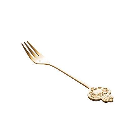 Conjunto de 4 Garfos de Aço Inox Para Bolo Key Dourado