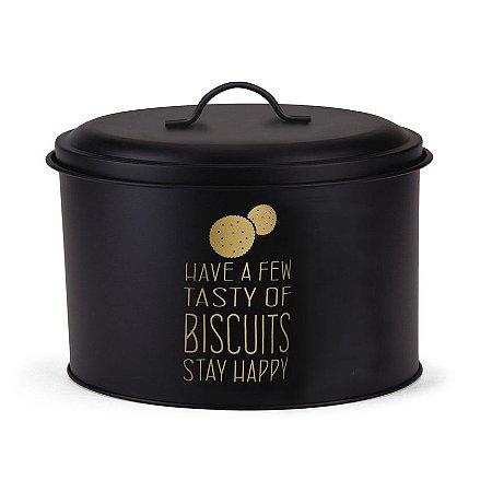 Pote Oval Para Biscoito Preto e Dourado - Hauskraft
