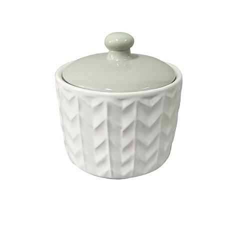 Potiche de Cerâmica Chevron Branco