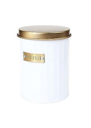 Pote Redondo Para Café Branco e Dourado - Hauskraft