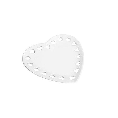 Prato Decorativo Borda Coração Branco 22,8 cm
