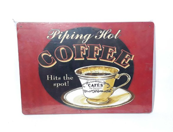 Placa Vintage Hot Coffee