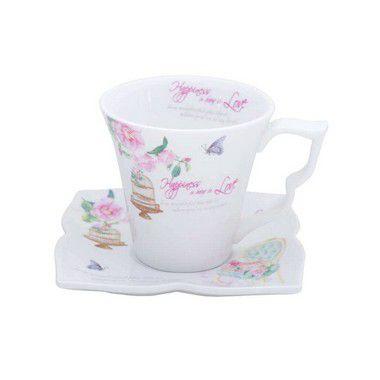 Xícara para Chá com Pires Flowers Unidade - Lyor