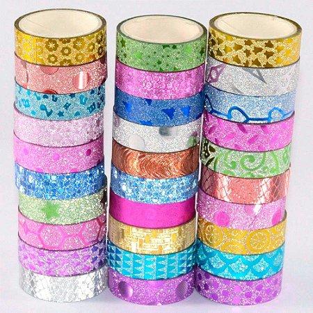 Fita Adesiva Decorada Glitter 10 Rolos Mistos