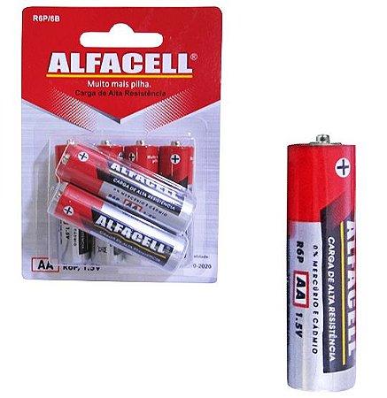 Pilha AA Alfacell com 06 Unidades