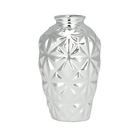 Mini Vaso Cerâmica Decor Geometric Prata