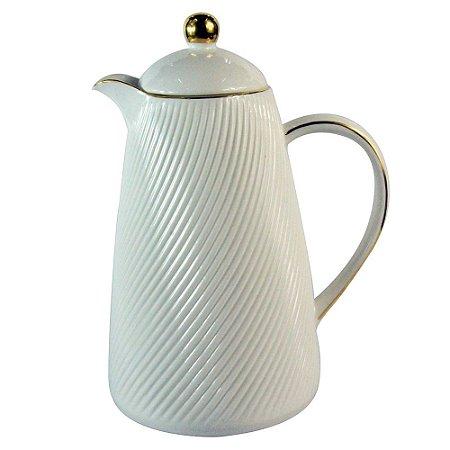 Garrafa Térmica de Porcelana Branca e Dourada