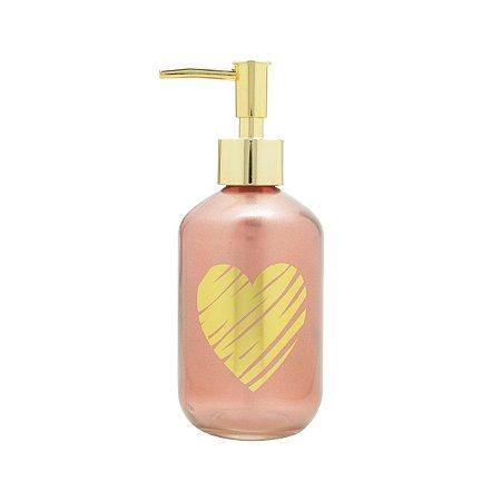 Porta Sabonete Líquido Vidro Rosa Coração Dourado
