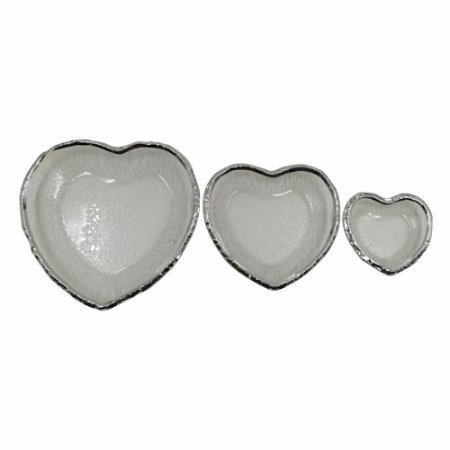 Conjunto de 03 Travessas Coração Vidro e Prata