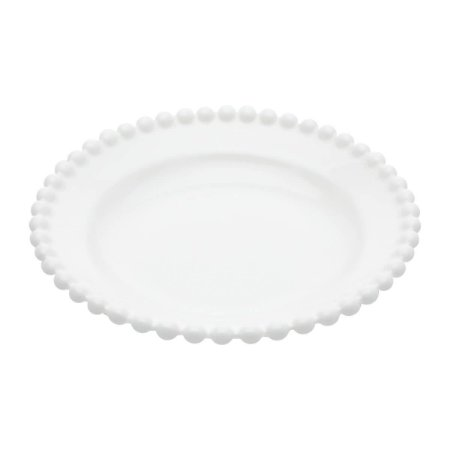 Prato Decorativo Round Branco Bolinhas Pequeno