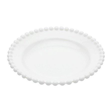 Prato Decorativo Round Branco Bolinhas Médio