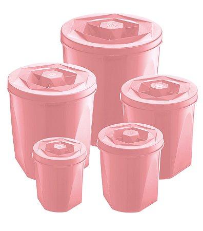 Potes Para Mantimentos de Plástico Rosa UZ