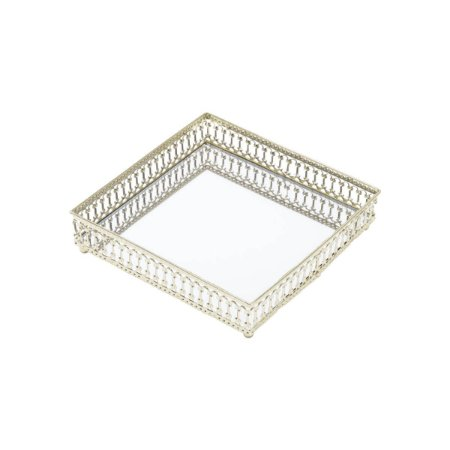 Bandeja de Metal Mirror Classic Quadrada Dourada