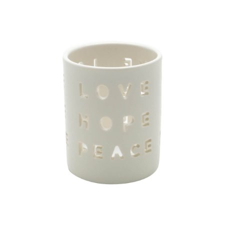 Castiçal Porcelana Love Hope Peace