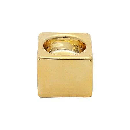 Castiçal Cerâmica Shiny Clube Dourada