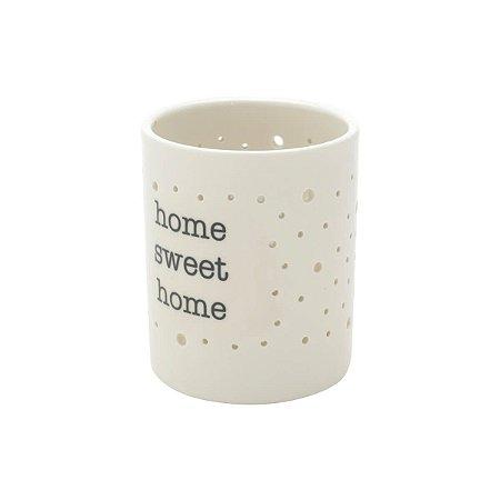 Castiçal Porcelana Home Sweet Branco